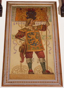 Schutter met vaandel voorzien van het wapen van het Koninkrijk der Nederlanden