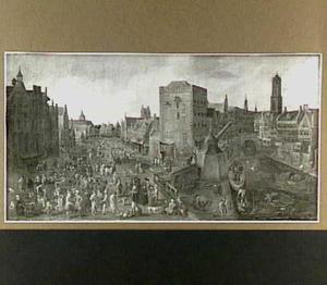 Gezicht op de Ganzenmarkt en de Stadhuisbrug te Utrecht