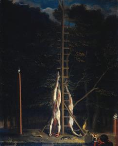 De lijken van de gebroeders De Witt, opgehangen op het Groene Zoodje aan de Vijverberg te Den Haag, 20 augustus 1672