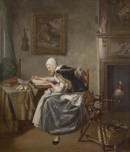 Interieur met een oude lezende vrouw