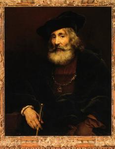 Oude man met staf en hoed