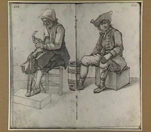 Schoenmaker aan het werk en zittende man