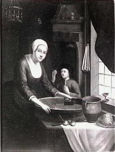 Een vrouw in de keuken bezig gehakt te maken