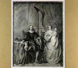 Familieportret van Charles I Stuart (1600-1649), Henrietta Maria van Bourbon (1609-1669) en hun oudste twee kinderen Charles II Stuart (1630-1685) en Mary I Stuart (1631-1661)