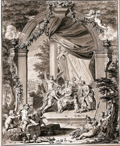 Allegorie op het huwelijk van Jacob Sydervelt en Maria van Oosterwijk op 7 januari 1738