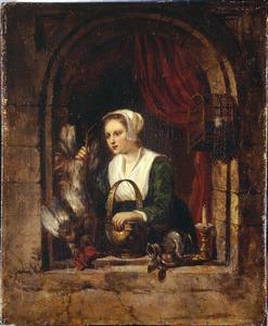 Een keukenmeid met een dode haan in een venster