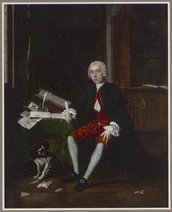 Portret van een man in zijn studeervertrek, samen met zijn hond