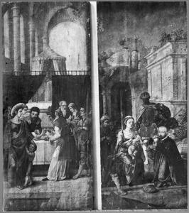 De besnijdenis (links); De aanbidding der koningen (lrechts)
