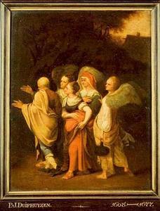 Lot en zijn dochters door de engelen uit Sodom weggeleid (Genesis 19)