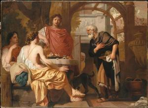De drie engelen op bezoek bij Abraham voorzeggen hem wederom de geboorte van een zoon. Sara luistert stiekem en vol ongeloof toe (Genesis 18:8-13)