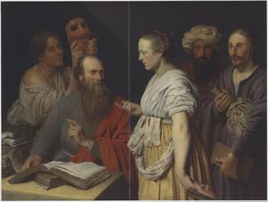 Geleerde man in zijn studeerkamer met figuren met maskers