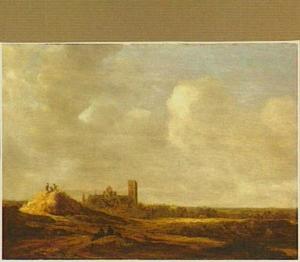 Duinlandschap met kerk (Mariakerk, Utrecht) en figuren