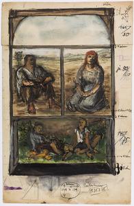 Studie van een boerenpaar en drie rustende figuren