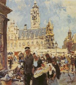 De markt voor het stadhuis te Middelburg
