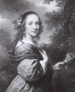 Portret van een meisje met een tuiltje bloemen in de hand
