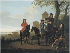 Michiel Pompe van Meerdervoort (1638-1653) en Cornelis Pompe van Meerdervoort (1639-1680) met hun rijmeester en een knecht