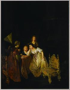 Elegant interieur met vrouwen rond een tafel, parels bewonderend
