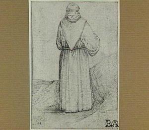 Een staande monnik, op de rug gezien