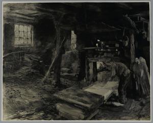 Werkman in een papierfabriek