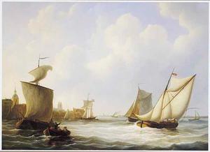 Riviergezicht bij Dordrecht met rechts op de voorgrond het beurtschip op Rotterdam