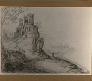 Capriccio van een rotsachtig kustlandschap met motief van de tempel van de Sibylle in Tivoli