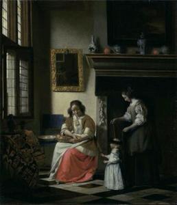 Twee vrouwen die een kind leren te lopen in een interieur