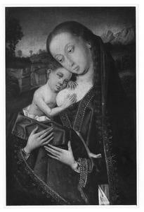 Maria met kind aan de borst rustend