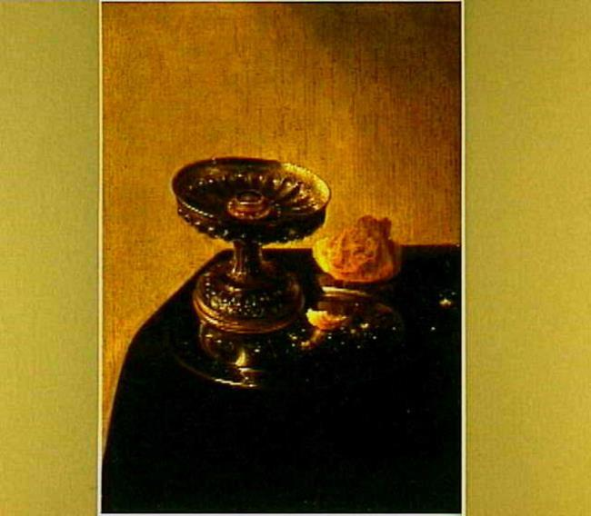 Still life with a pewter plate and bread