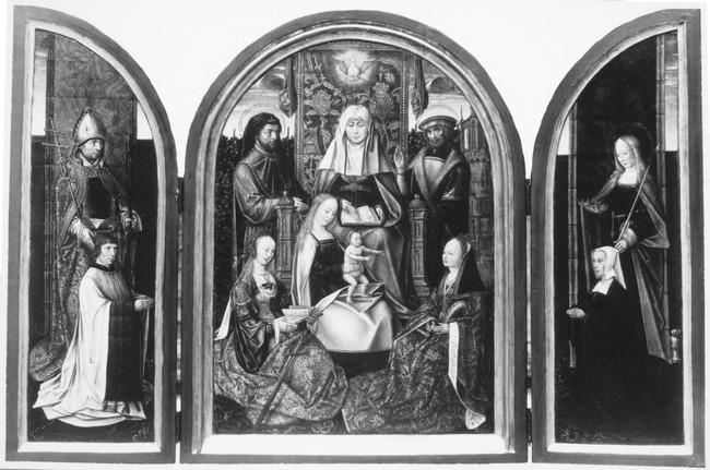 "<a class=""recordlink artists"" href=""/explore/artists/230400"" title=""Meester van de Familie van de Heilige Anna""><span class=""text"">Meester van de Familie van de Heilige Anna</span></a>"