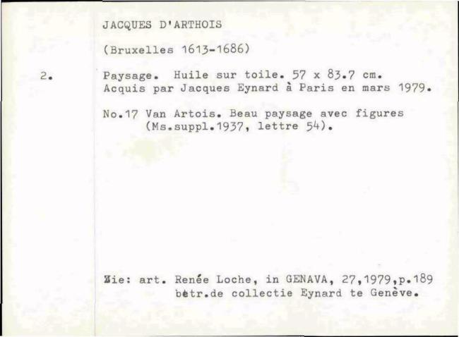 Arthois, Jacques d', baknummer 005