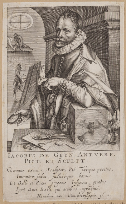 """<a class=""""recordlink artists"""" href=""""/explore/artists/75309"""" title=""""Andries Jacobsz. Stock""""><span class=""""text"""">Andries Jacobsz. Stock</span></a> after <a class=""""recordlink artists"""" href=""""/explore/artists/31339"""" title=""""Jacques de Gheyn (II)""""><span class=""""text"""">Jacques de Gheyn (II)</span></a> published by <a class=""""recordlink artists"""" href=""""/explore/artists/39407"""" title=""""Hendrik Hondius (I)""""><span class=""""text"""">Hendrik Hondius (I)</span></a>"""
