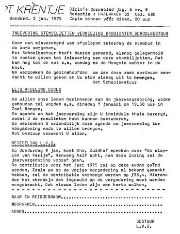 Oirlo's dorpsblad 't Krèntje 1975-01-02