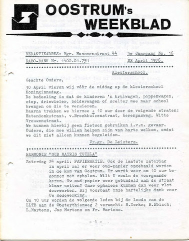 Oostrum's Weekblad 1976-04-22