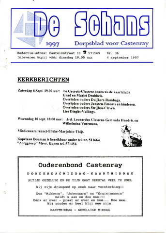 Castenrays dorpsblad De Schans 1997-09-04