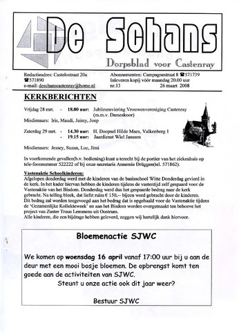 Castenrays dorpsblad De Schans 2008-03-26