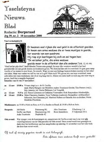 Ysselsteyns Nieuwsblad 2000-11-10