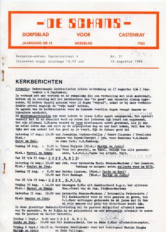 Castenrays dorpsblad De Schans 1985-08-16