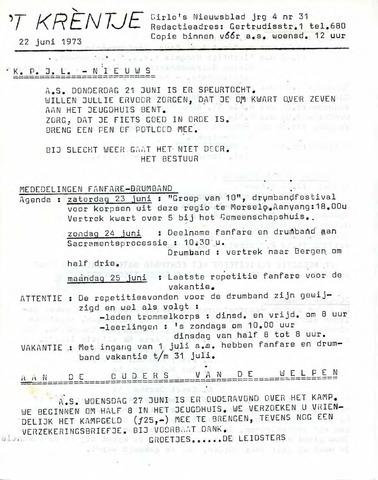 Oirlo's dorpsblad 't Krèntje 1973-06-22