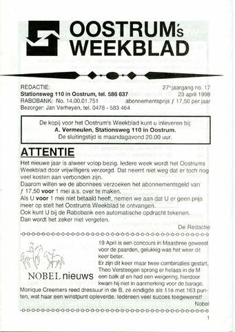 Oostrum's Weekblad 1998-04-23