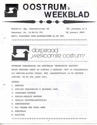 Oostrum's Weekblad 1987-01-29