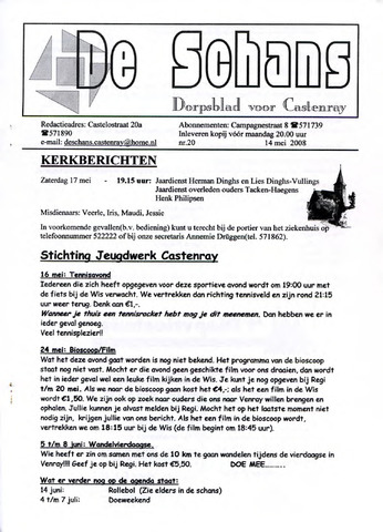 Castenrays dorpsblad De Schans 2008-05-14