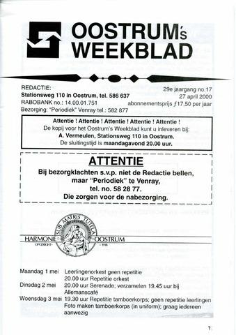 Oostrum's Weekblad 2000-04-28