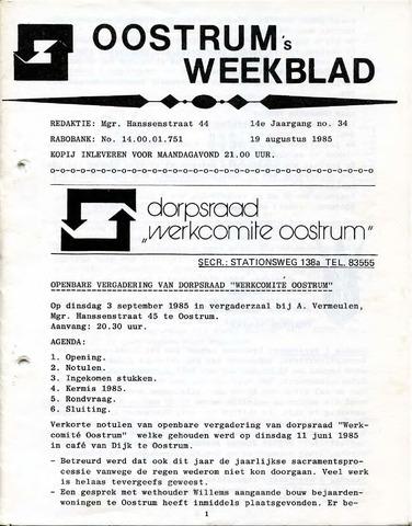 Oostrum's Weekblad 1985-08-29