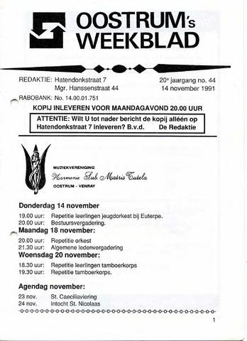 Oostrum's Weekblad 1991-11-14
