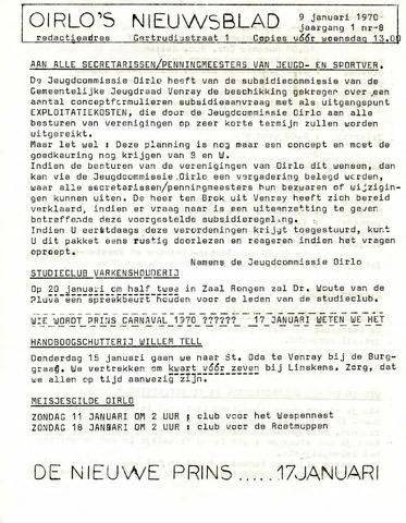 Oirlo's dorpsblad 't Krèntje 1970-01-09