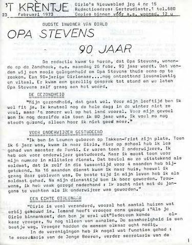 Oirlo's dorpsblad 't Krèntje 1973-02-23