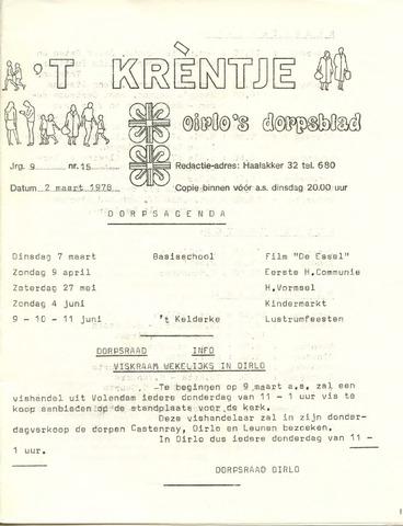 Oirlo's dorpsblad 't Krèntje 1978-03-02