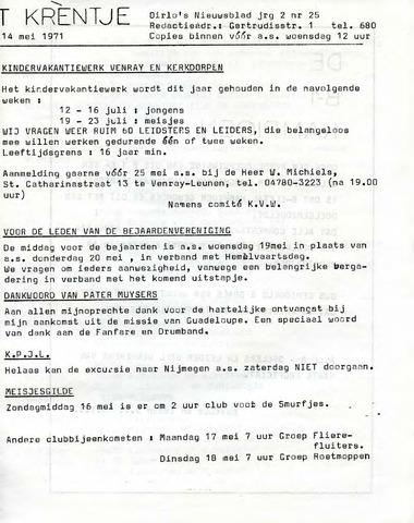 Oirlo's dorpsblad 't Krèntje 1971-05-14