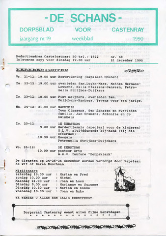 Castenrays dorpsblad De Schans 1990-12-21