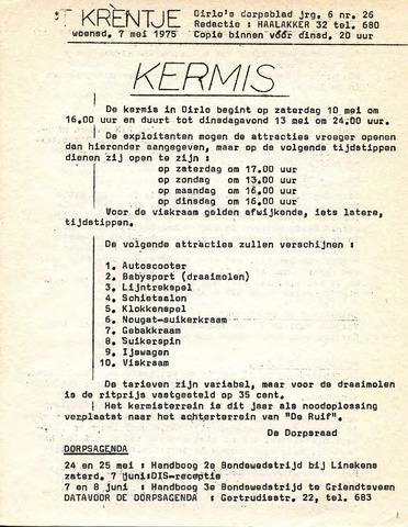 Oirlo's dorpsblad 't Krèntje 1975-05-07